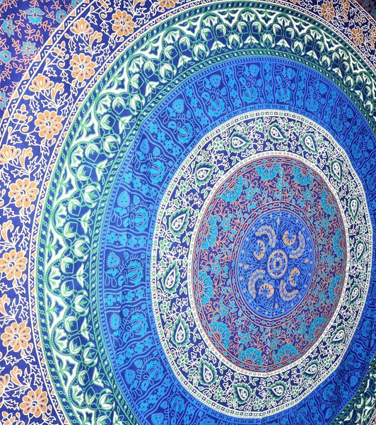 Trendyystuff Royal Blue Indian Mandala Tapestry/wall Hanging, Bedsheet, Superior Quality Hippie Wall Tapestry or Bedspread in Organic Cotton