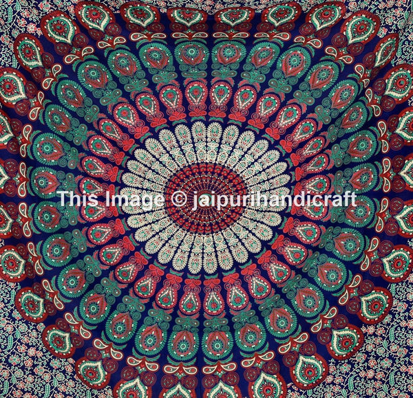 Madhu International Mandala Bohemian Tapestries Queen Size Cotton Wall Hanging