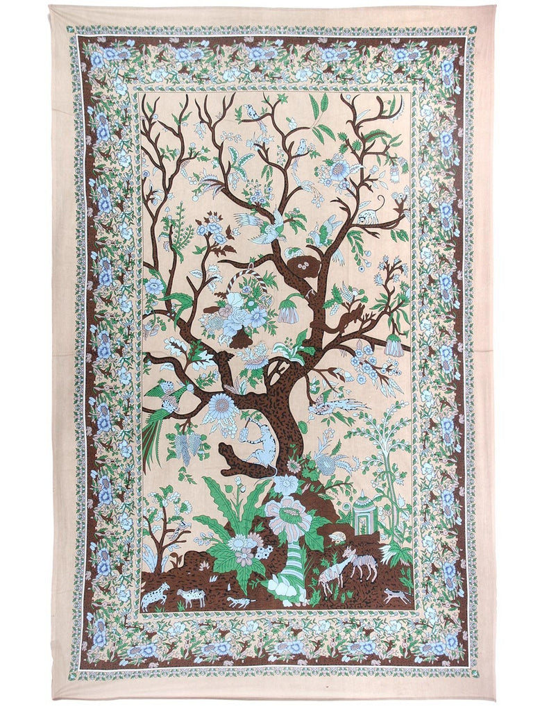 Roll over image to zoom in      Sunshine Joy Tree Of Life Indian Tapestry - 60x90 Inches - Beach Sheet - Hanging Wall Art (Beige)