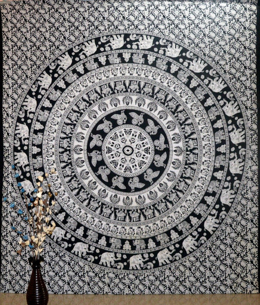 Jaipurhandloom Elephant Mandala Wall Hanging Tapestry- Black and White- Queen Size Tapestries. Made in India- Tree of Life Psychedelic Art- Bohemian- Hippie Hippy