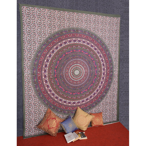 Roll over image to zoom in      Craft N Craft Hippie Mandal Bohemian Psychedelic Floral Design Bedspread Tapestry 82 X 92 Inches