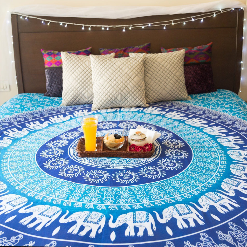 Folkulture Blue Elephant Tapestry, Bohemian Wall Tapestry Throw for Bedroom, Hippie / Hippy Tapestry Wall Hanging, Indian Mandala Tapestry Bedding / Bedspreads, Queen Size, Bonus Set of Boho Earrings