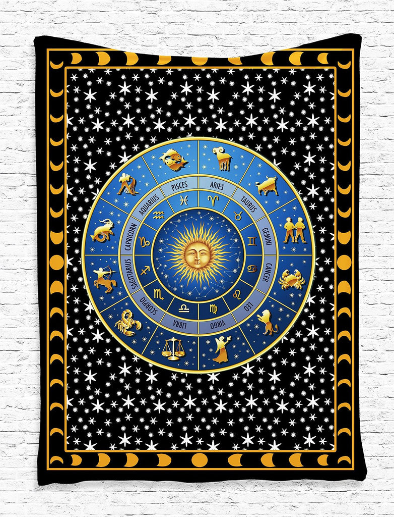 trendyystuff Zodiac Calendar and Sun Horoscopes with Crescent Moon and Stars Indian Mandala Design Digital Printed Tapestry Wall Hanging Wall Tapestry Living Room Bedroom Dorm Decor, Blue Gold Black White