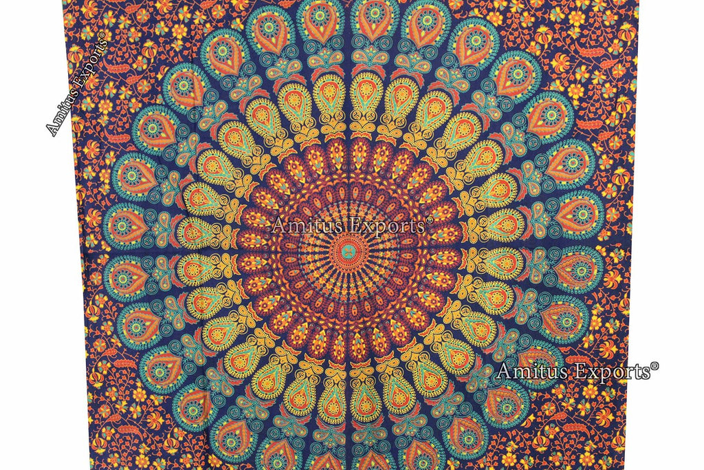 "Amitus Exports ® 1 X Peacock Flower 82""X53"" Approx. Inches Color Cotton Fabric Multi-Purpose Handmade Tapestry Hippy Indian Mandala Throws Bohemian Tapestries"