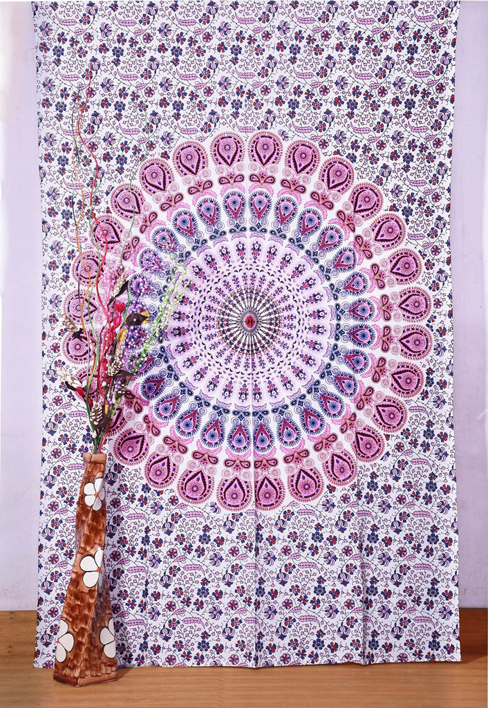 "White Indian Peacock Mandala Tapestry ,Indian Wall Hanging ,Hippie Indian Tapestry,bohemian Wall Hanging, Twin Bedspread Throw Decor Art, Indian Bedspread, Beach Throw, 85"" by 55"" inch"