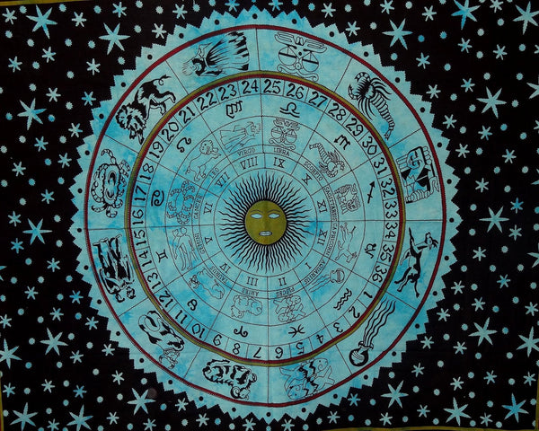 "Wall Hanging Horoscope Tapestry Indian Astrology Hippie Wall Tapestries for Dorms Boho Twin Bedding Zodiac Tapestry. (85"" X 55')"