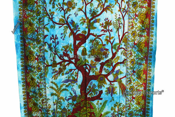 "Amitus Exports ® 1 X Tree Of Life 83""X53"" Approx. Inches Turquoise Multi Color Cotton Fabric Multi-Purpose Handmade Tapestry Hippy Indian Mandala Throws Bohemian Tapestries"