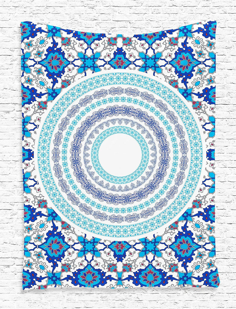 Tapestry Indian Mandala Oriental Tile Design Hippie Bohemian Print Digital Printed Tapestry Wall Hanging Wall Tapestry Living Room Bedroom Dorm Decor, Blue White