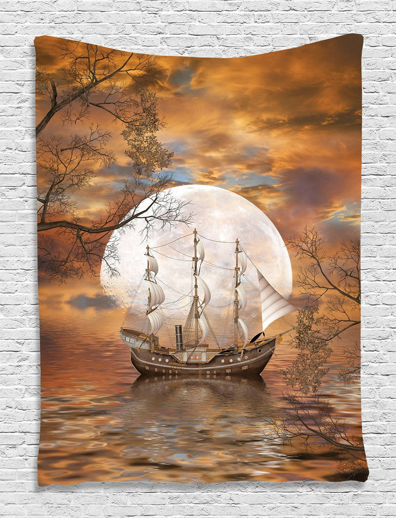 Trendyystuff  Roll over image to zoom in      Sailboat Art Full Moon Fairy Scene with Modern Abstract Paintings Tapestry Wall Hanging for Living Room Bedroom Teens Room Dorm Decor Accessories Machine Washable Shiny Silky Satin, Orange Gray White