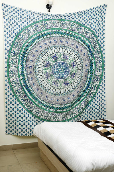 Trendyystuff Magical Bird of Devotion Green Mandala Tapestry Exclusively By 'AndExports' & Associates