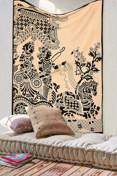 Roll over image to zoom in      SheetKart Black And White Hippie Tapestry Throw - Hippy Indian King And Queen Wall Hanging - Bohemian Wall / Dorm Room Tapestry - Traditional Bedding / Bedspreads - Black On Natural Dye Tapestries
