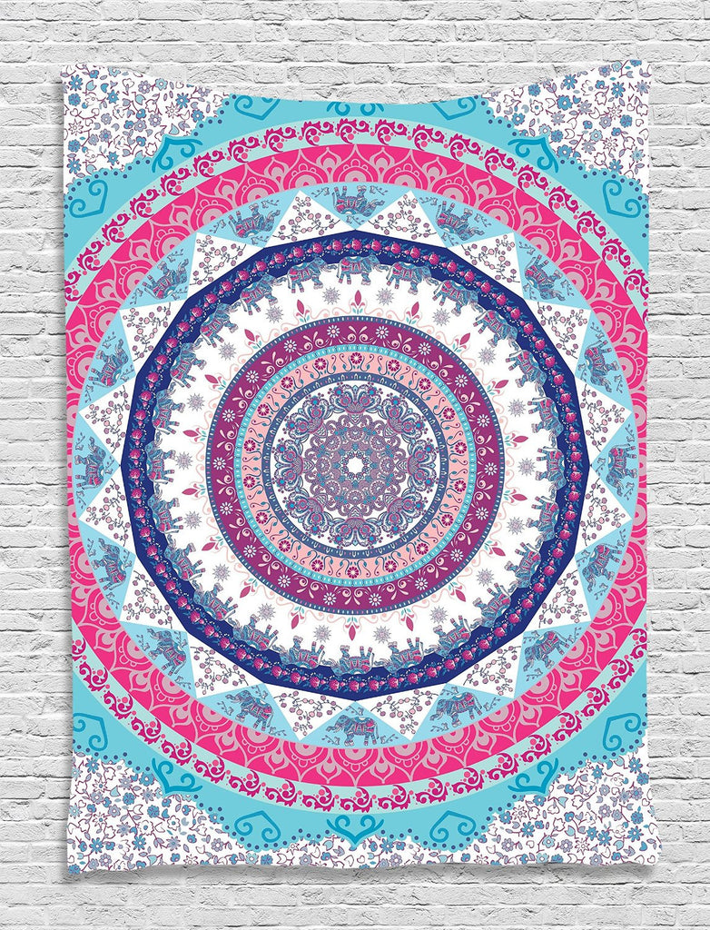 Trendyystuff Ethnic Tribal Indian Nepal Bohemian Hippie Hippy Yoga Zen Circle Pattern Life Cycle Mandala Digital Printed Tapestry Wall Art Hanging Wall Tapestry Living Room Bedroom Decor, Fuchsia Blue Navy White