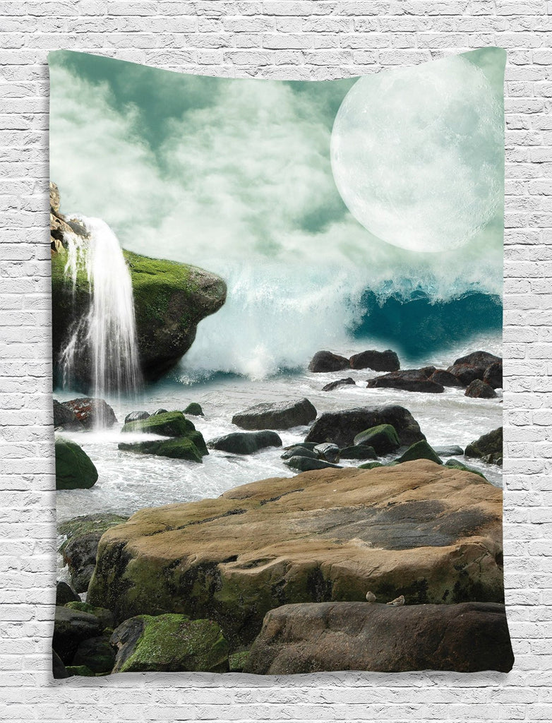 Roll over image to zoom in      Tapestry Waterfall and Full Moon Tapestry Wall Hanging Wall 60 x 80 inches Living Room / Bedroom / Dorm Decor - One of a Kind - Machine Washable, Green White Teal Brown