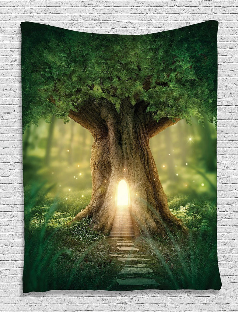 Mystic Fairy Tree of Life Enchanted Forest Mystical Lights Digital Printed Tapestry Wall Hanging Wall Tapestry Living Room Bedroom Dorm Decor, Green Yellow Brown