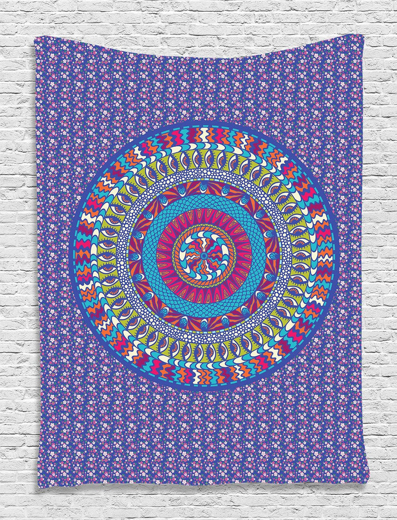 Hippie Tapestry Indian Purple Mandala Design Psychedelic Tapestry Fabric Art Wall Hanging for Living Room Bedroom Dorm Decor, Purple Lime Green Blue Red Mustard