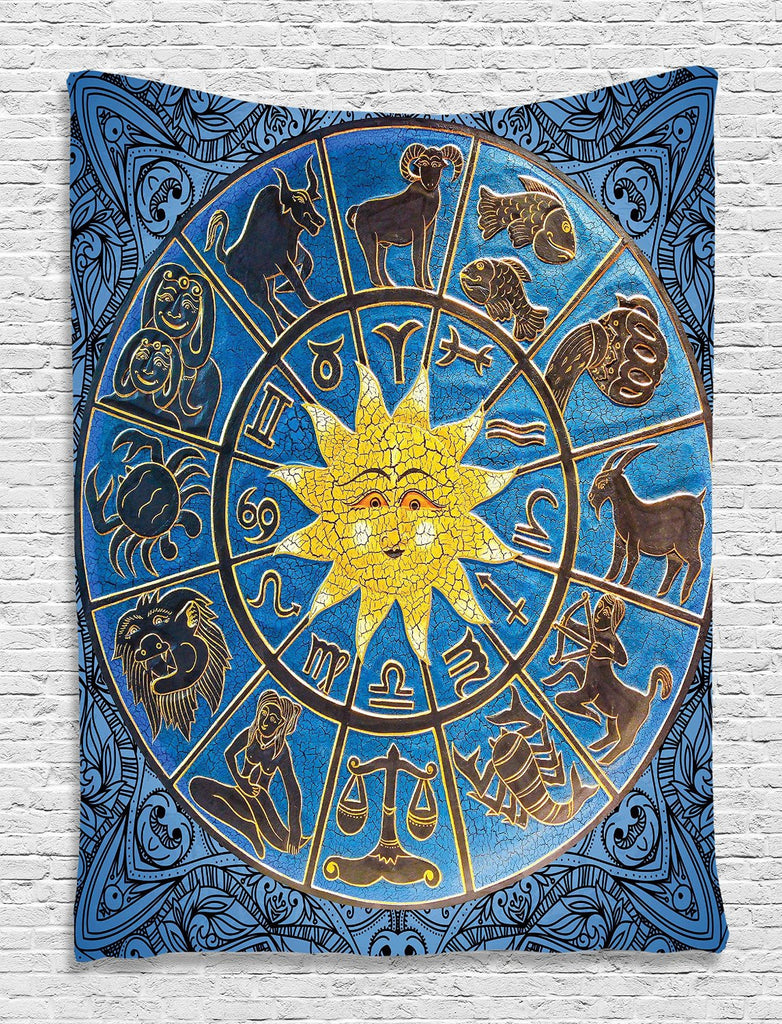 Tapestry Zodiac Calendar and Sun Horoscopes Indian Mandala Exquisite Design Home Decor Holiday Digital Printed Tapestry Hanging Living Room Bedroom Dorm Decor, Blue Gold