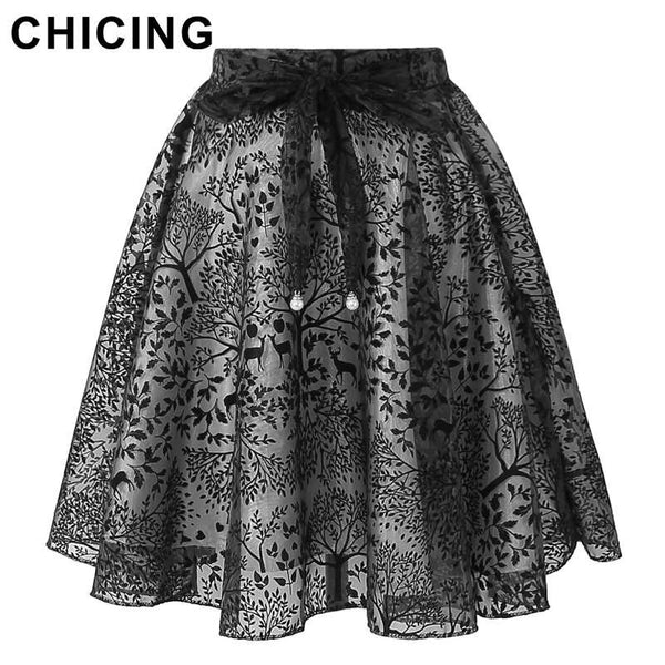CHICING Flocking Jacquard Midi Skirts Womens 2016 Summer Ties Bow Empire Ball Gown Pleated Elegant Organza Tulle Saia A1605028