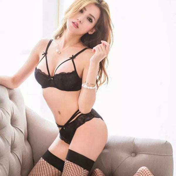 Sexy Women Embroidery Lace Bra Set Solid Push Up Underwire Bandage Underwear Briefs