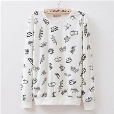 New 2016 Fall women's Small broken flower printed basic cotton/polyester french terry pullover sweatshirt Women thin Hoodies