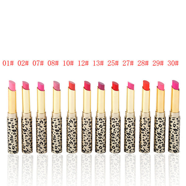 Leopard Long Lasting Lipstick Moisturize Bright Nude Lip Gloss Pencil Balm 12Pcs/Set
