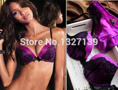 Details about Womens Lace Super Boost Magic Enhancer Push up Bra Sets Gel Padded Side Support