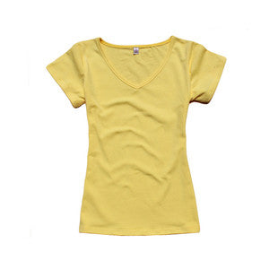 New Arrival 2015 Women's V-neck Short Sleeve Women's T-Shirt Cotton Large Size 8 Colors Slim lady T-shirt plus size  B041