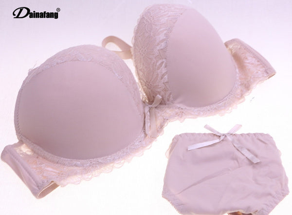 Cheap Plus Size Cup Women Push Up Lace Lingerie Set 38DD,42DD,40DD White thin bracelet Sexy Underwear Bra Panty Sets Intimates
