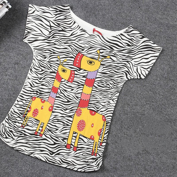 2016 Top Selling Womens Clothes Fashion Vintage Spring Summer Short Sleeve Animal Printed Girls Cotton Female Women T-shirt