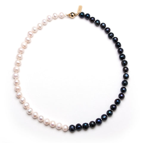 Yin Yang Black White Pearl Necklace