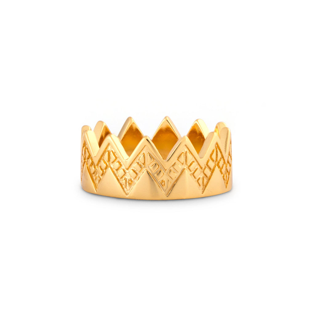 Empress Gold Crown Etched Ring