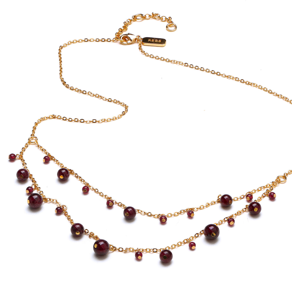 Garnet Thanka Tiered Necklace