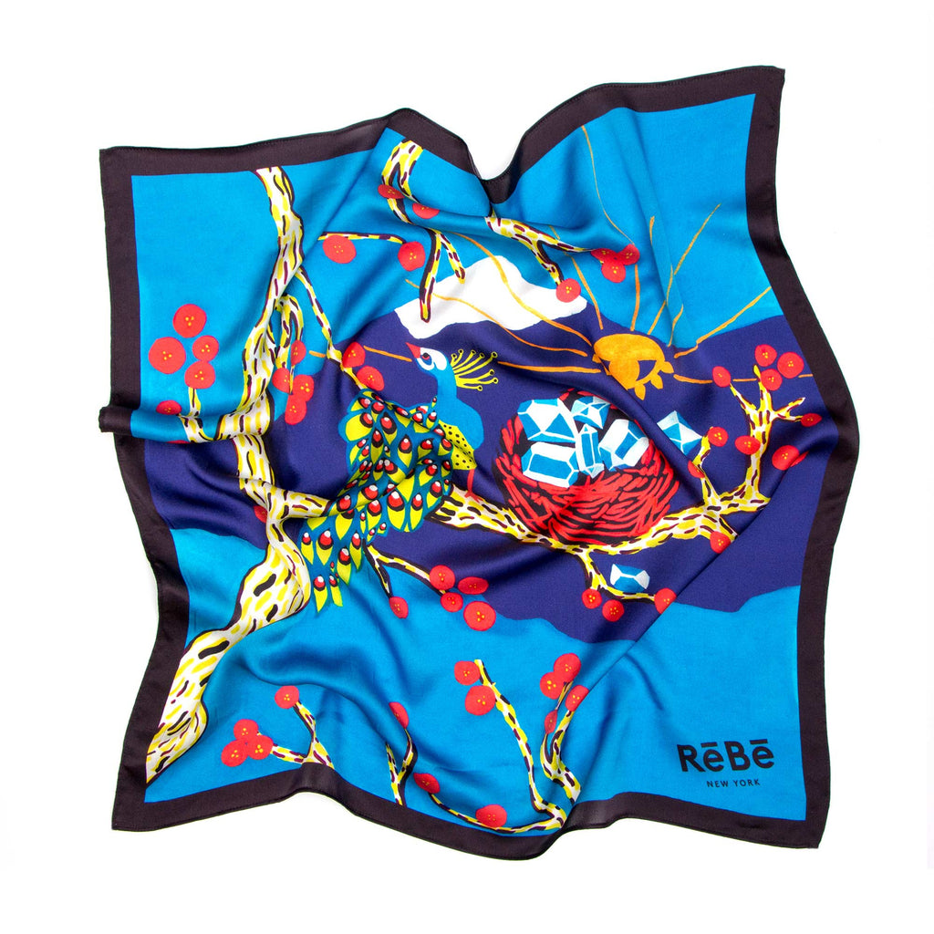 Turquoise Peacock ReBe Island Silk Scarf