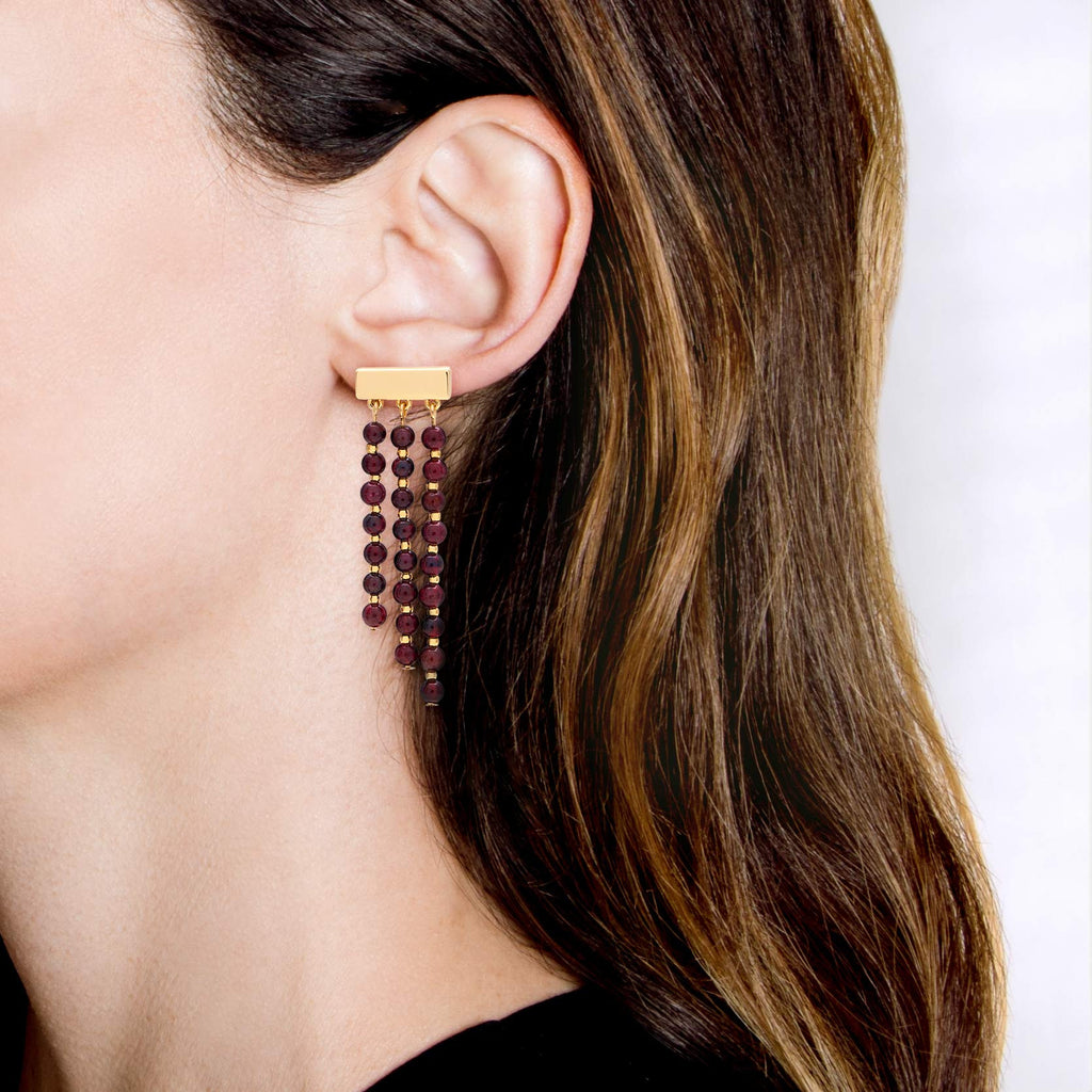 Thanka Garnet Drop Earrings