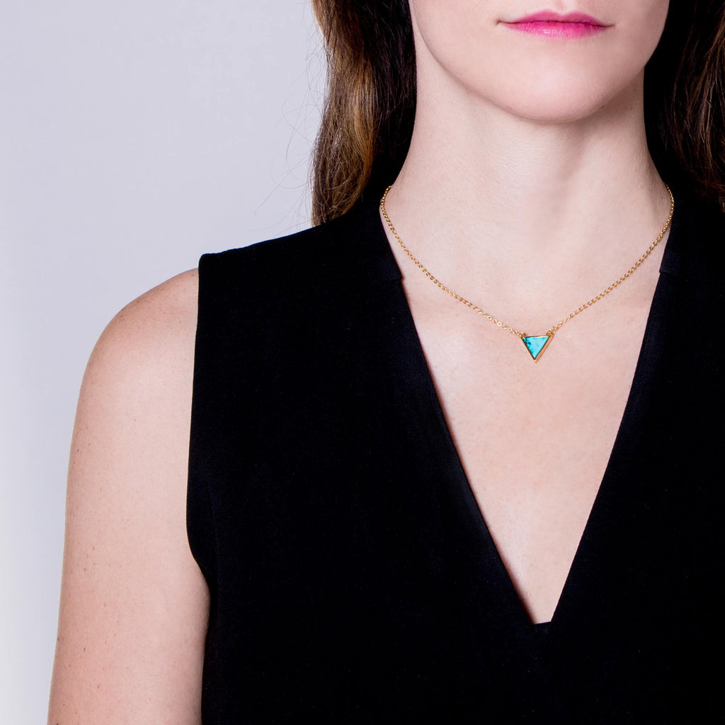 Cloud Mountain Turquoise Triangle Necklace