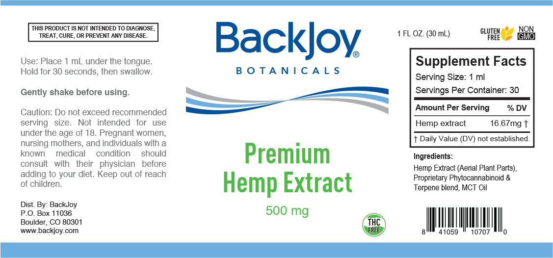 Premium Hemp Extract Oil 500mg by BackJoy Botanicals