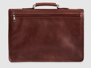 Alfred - Brown Leather Briefcase - Bag - Rust & Fray