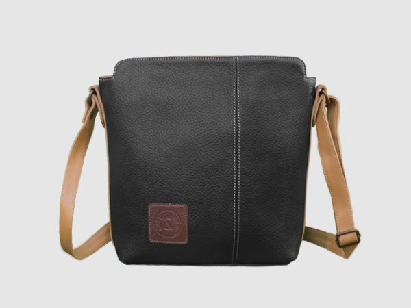 Latitude - Black Vegan Leather Messenger Bag - Bag - Rust & Fray