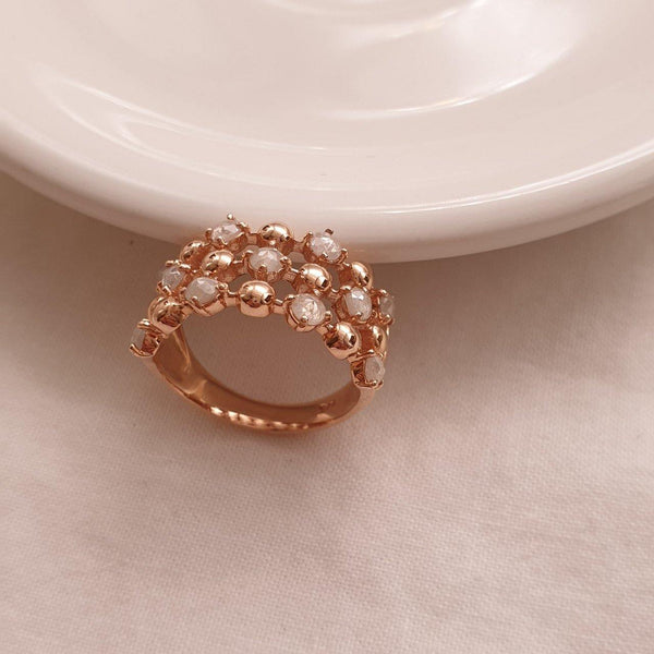 Bubble rough diamond ring