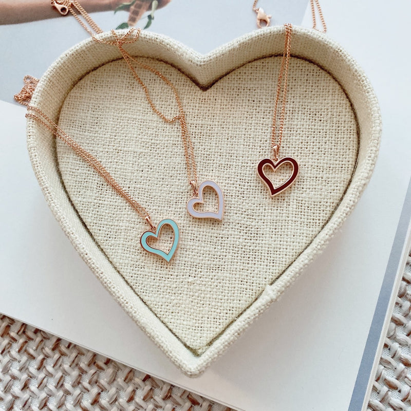 Epoxy heart necklace