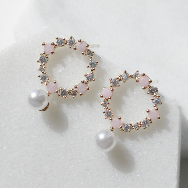 Pink circle earrings