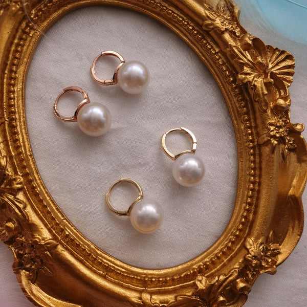 Pearl drop huggie one touch earrings