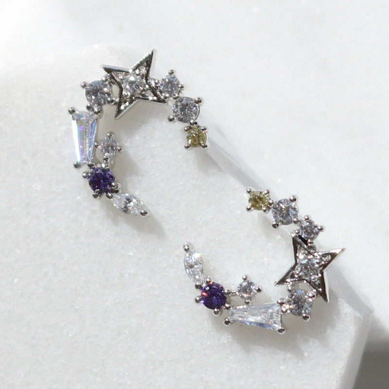 Blue moon star earrings - NABILONDON