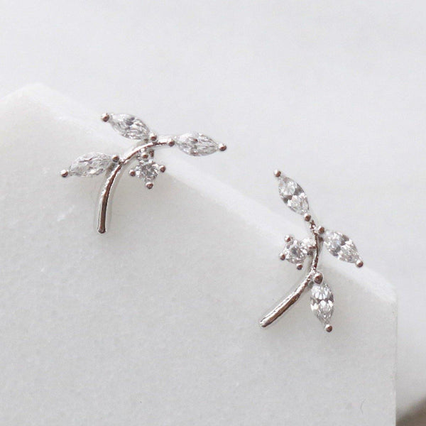 Cubic branch climber earrings