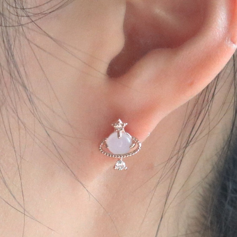 Pink saturn earrings