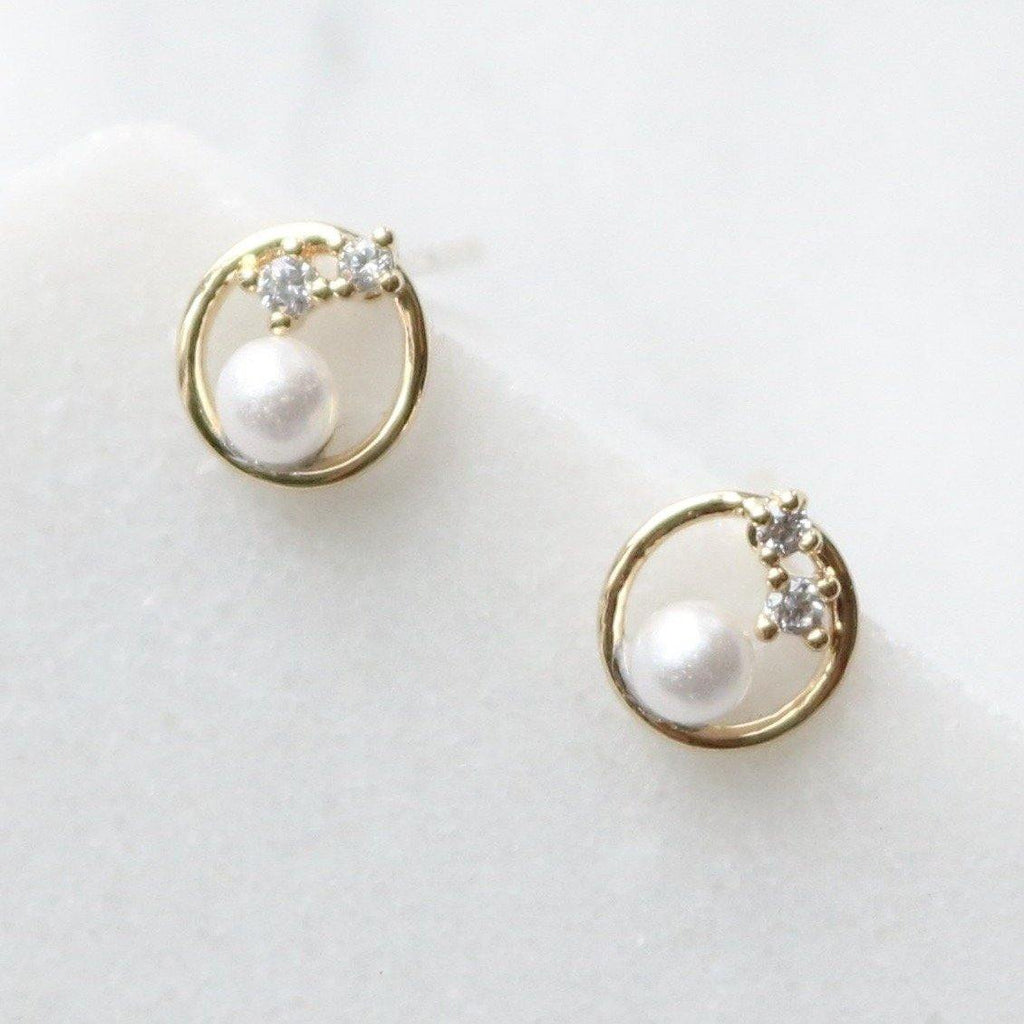 circle pearl with cubic earrings