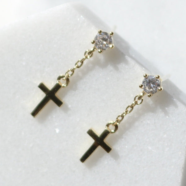 Cubic cross drop earrings