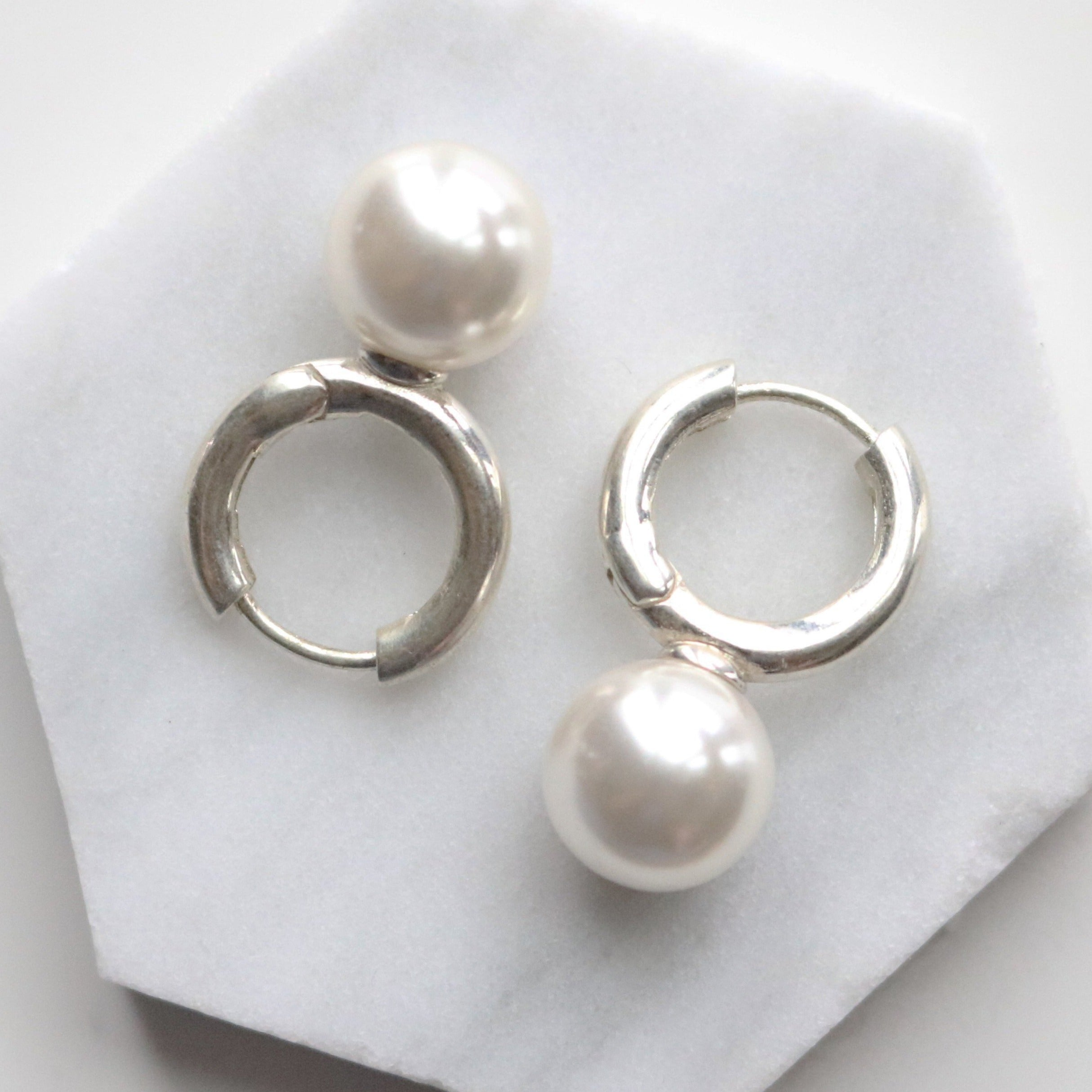 Bold one touch pearl earrings