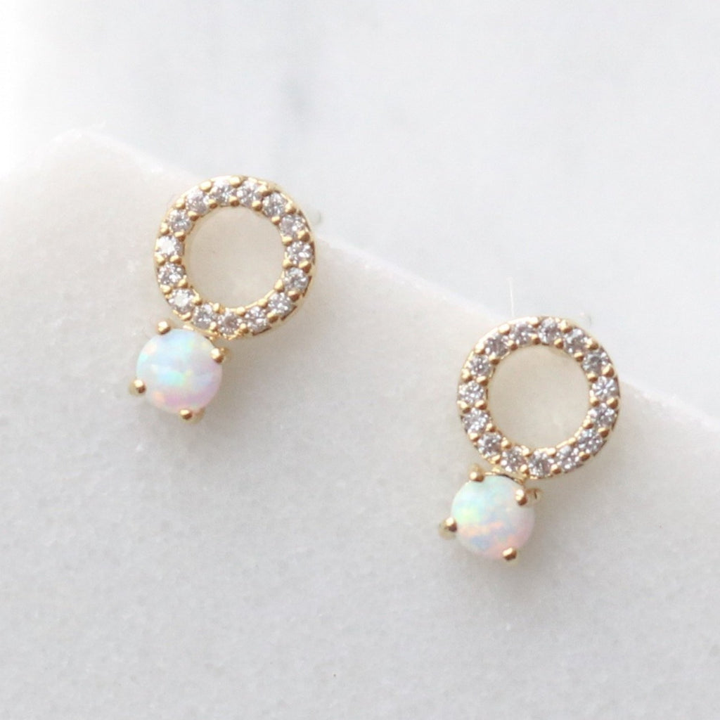 Cubic opal circle drop earrings