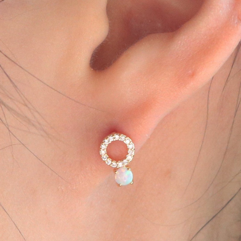 Cubic opal earrings
