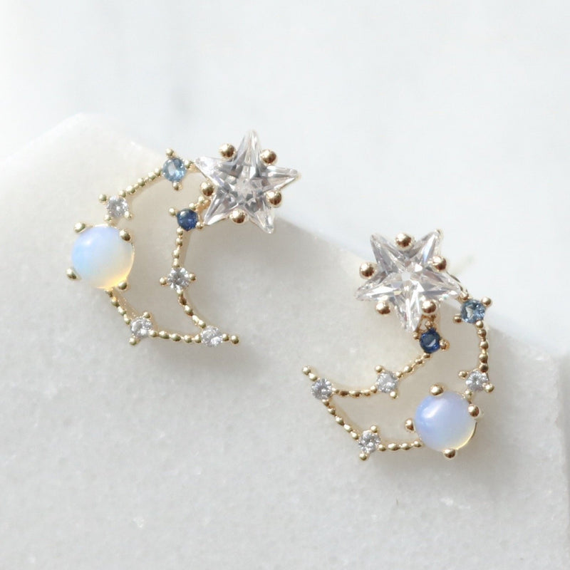 Cubic Star Line Moon Earrings